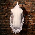 voile mariage Champagne Ivory White Lace Short Bridal Veils 2017 For Wedding Veil Lace Sequin Appliques bruidssluier velo novia
