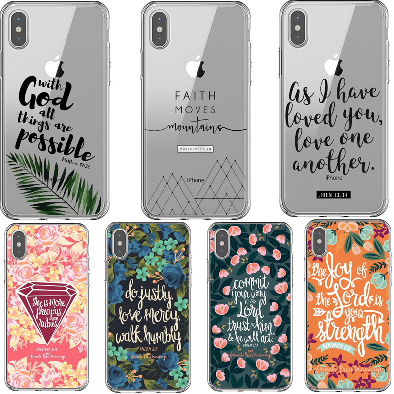 Bible verse Philippians Jesus Christ Christian Pattern Phone Case For iPhones 11 Pro MAX XS XR XS MAX 6 6s 7 8 Plus X TPU Cover image