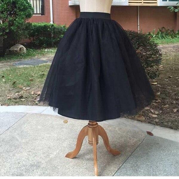 Тюлевая юбка принцессы, пышная Женская Лолита, белая сетчатая юбка, балетная юбка для девочки, 5XL размера плюс, черная одежда для рождественской вечеринки, танцевальная одежда - Цвет: Черный