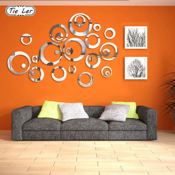 24PCS/4 Sets 3D Circle Ring Mirror Acrylic Wall Sticker-Free Shipping 3D Wall Stickers For Bedroom mirror wall stickers
