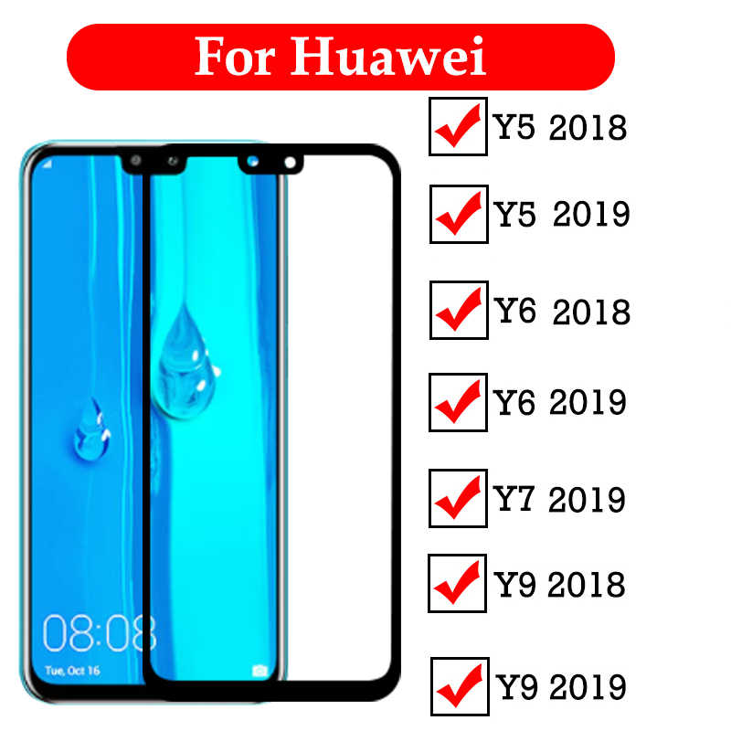 Screen Protector Glass For Huawei Y6 Y9 2019 Y5 Y9 Y7 2019 2018 Y6 Prime 2018 Tempered Glass Full Cover Protective Glass Film 9H