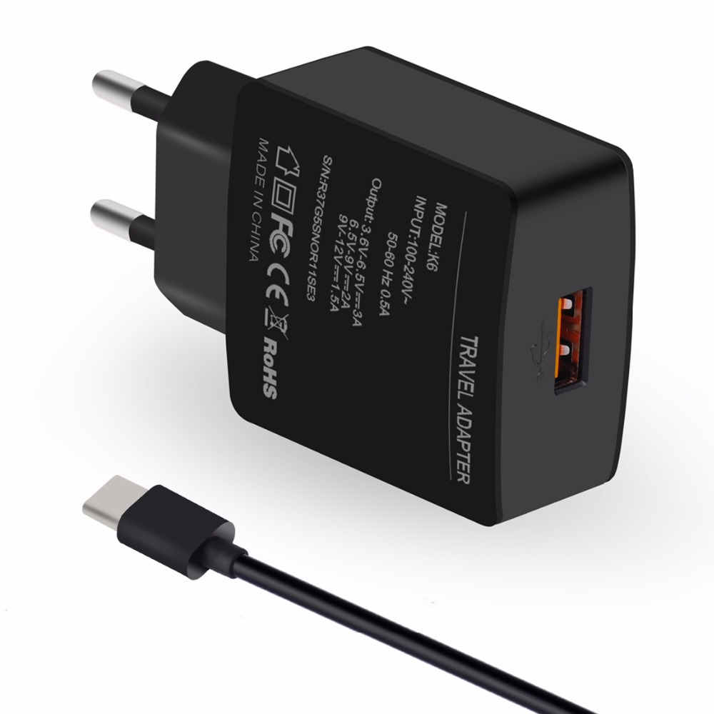 Quick <font><b>Charger</b></font> 3.0 18W Travel <font><b>Charger</b></font> Adapter Kit with Micro USB Charging Cable