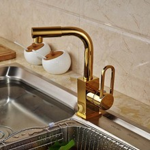 Golden Brass Kitchen Faucet Swivel Spout Vessel Sink Mixer Tap  Deck Mounted