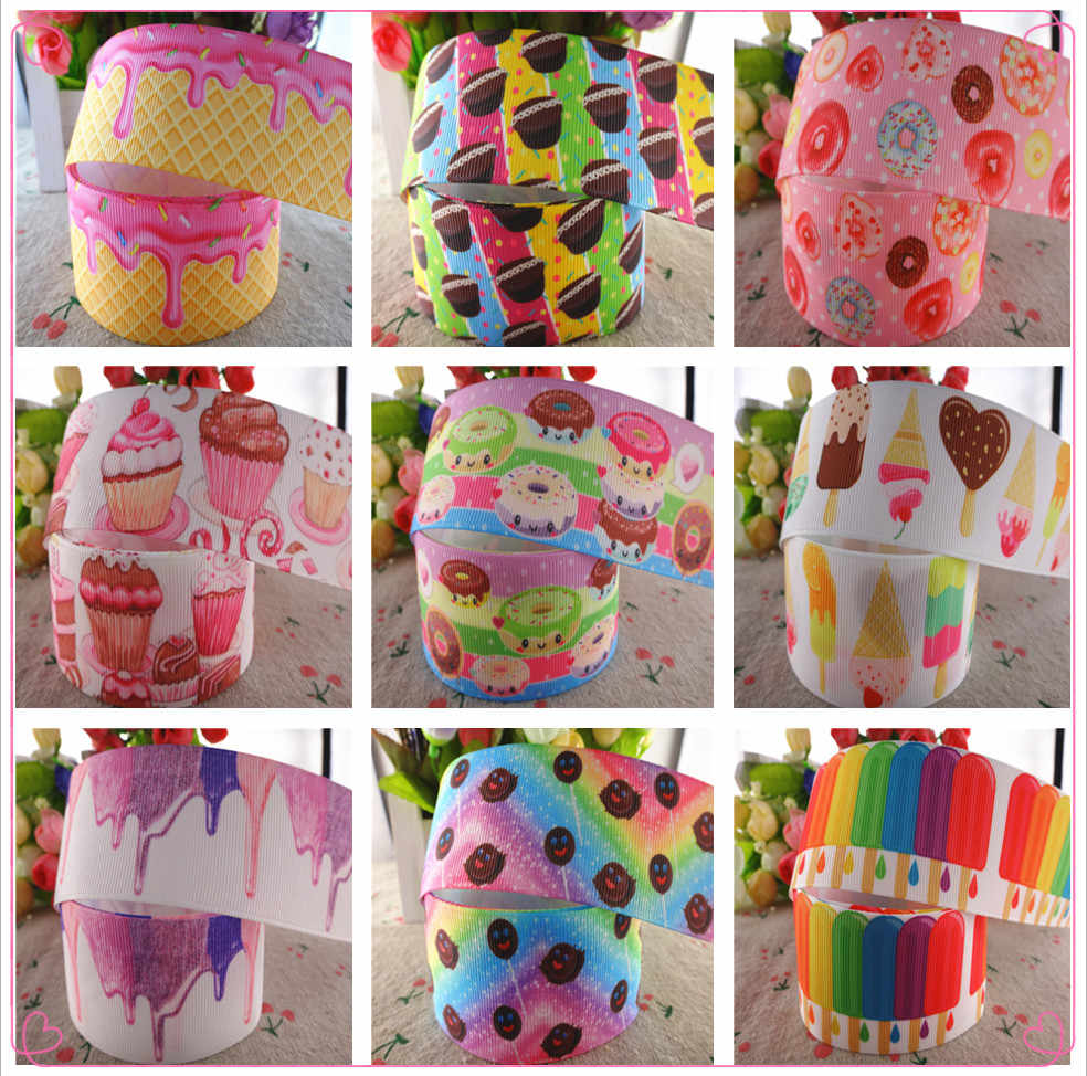 "18091909, 1-1/2"" 38mm,3"" 75mm,5 yards food cake printed grosgrain ribbons DIY hair bows handmade materials"