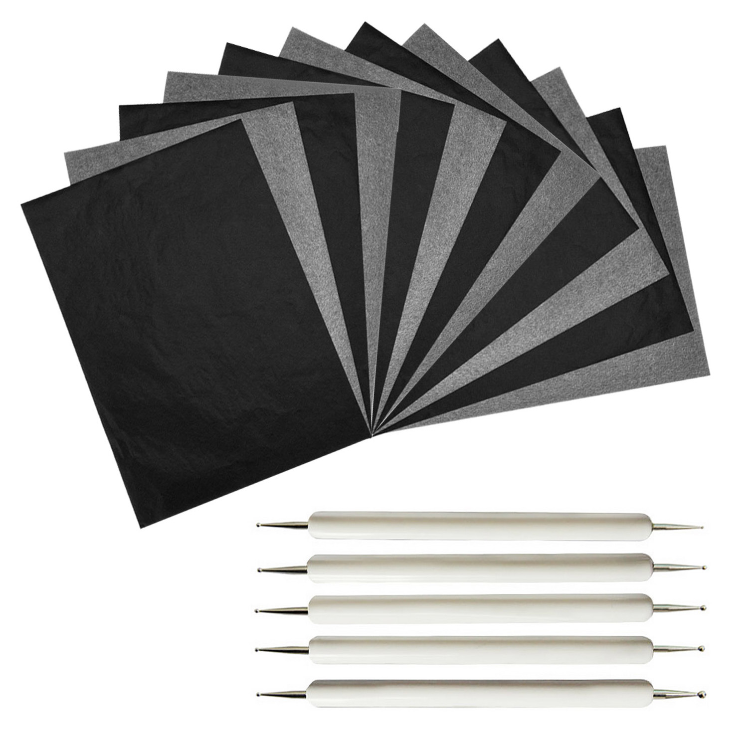 100 Sheet A4 Size Reusable Carbon Tracing Transfer Paper   5PCS Embossing Stylus For Canvas Wood Glass Metal Ceramic Clay