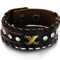 New Fashion Jewelry Priced At Wholesale Jewelry Rivets Buckle Leather Bracelet To Send Her Boyfriend Husband