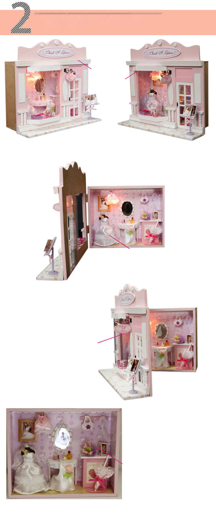 Kids Wooden DIY House Puzzle Toys Doll House Furniture Kits Pink Wedding Shop Love Life Hut Stores Hand-assembled Model Toys (2)
