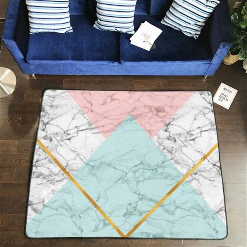 Tapis nordiques doux flanelle 3D imprimé petits tapis salon marbre motif tapis tapis anti-dérapant grand tapis pour salon décor