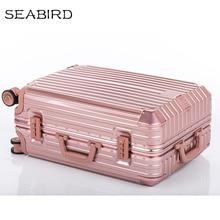 SEABIRD 20 «24» 26 «29 дюймов Роскошные Алюминий рама тележки чемодан Бизнес Металл Spinner Чемодан Для женщин путешествия чехол Для Мужчин серый