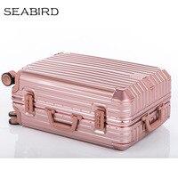 SEABIRD 20242629 inch Luxury Aluminum Frame Trolley Suitcase Business Metal Spinner Luggage Women Travel Case Men Gray
