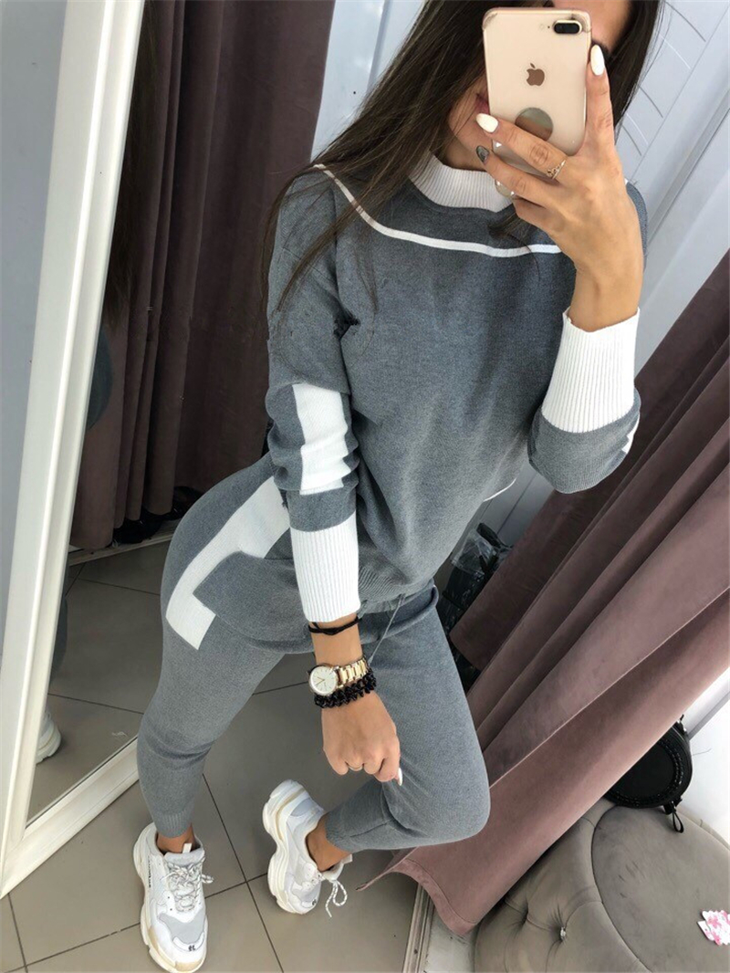 2018 Real Rushed Large Size Women's Knit Suit Fashion Round Neck Sweater And Pants Color Matching Two Piece Set Female Increase