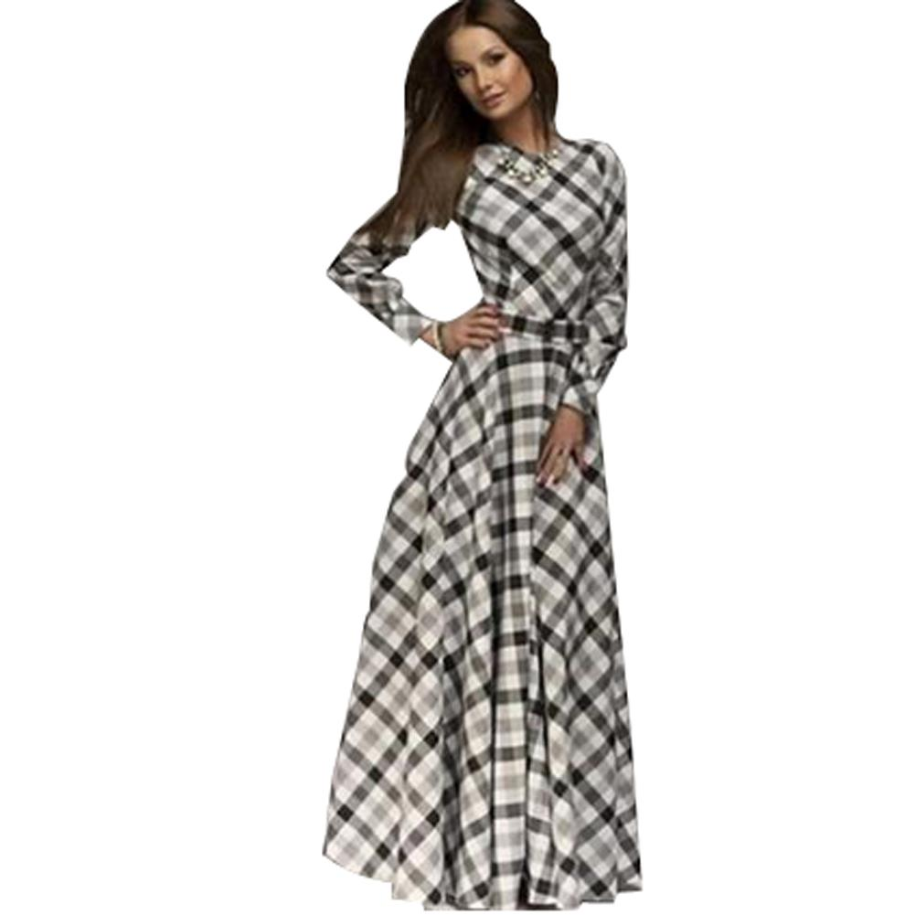 Vintage ethnic Plaid Dress Color Block Dresses elegant Long Sleeve ...