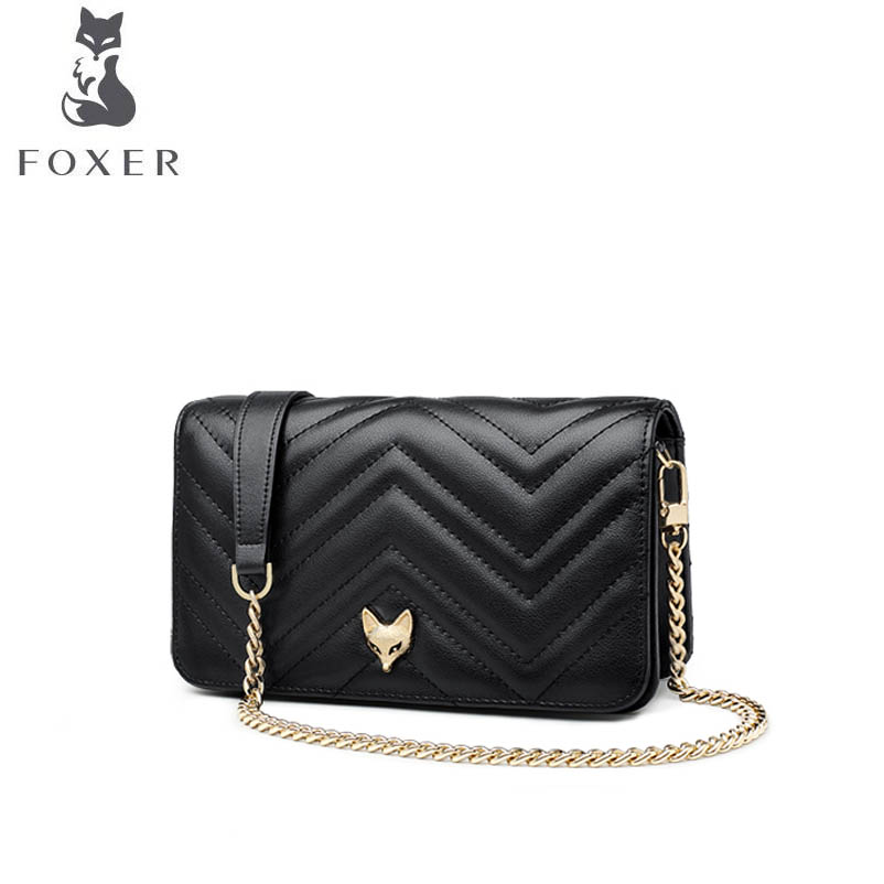 FOXER Messenger Bag 2018 autumn and winter new Korean fashion small bag simple chain shoulder bag benviched 2018 summer new feather bag pu simple fashion chain shoulder messenger bag mini bag r24