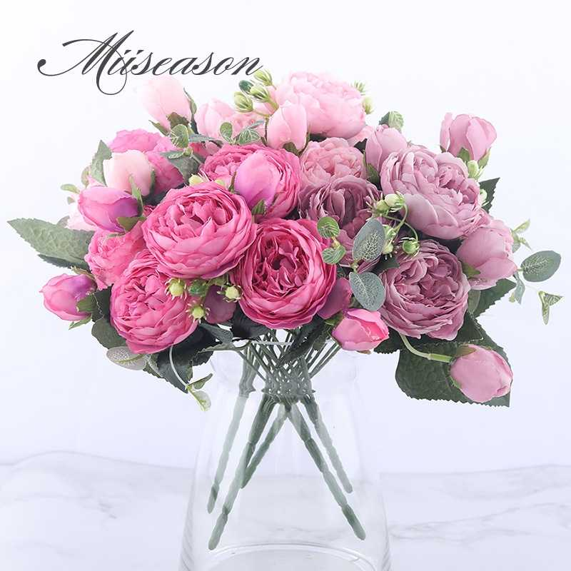 30cm Silk Peony Rose Pink Artificial Flowers Bouquet 5 Big Heads and 4 Bud Cheap Fake Flowers for Home Wedding Decoration indoor