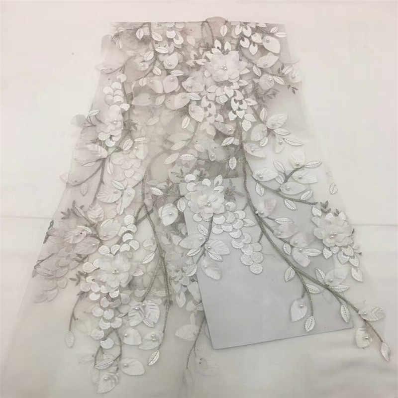 2018 Красивая 3d кружевная ткань с бисером Цветочная вышивка аппликация
