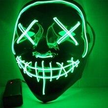 Хэллоуин светодио дный светящаяся маска Ужас гримаса кровавый EL wire Хэллоуин карнавечерние вал Вечеринка клуб бар DJ светящиеся полные маски для лица