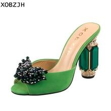 이탈리아 디자이너 녹색 라인 석 샌들 여성 신발 럭셔리 2019 슬립 녹색 높은 뒤꿈치 여름 샌들 신발 여자 블록 발 뒤꿈치