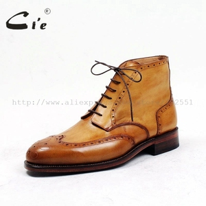 Image 2 - cie round toe full brogues medallion 100%genuine calf leather boot patina brown handmade leather lacing mens ankle boot  A98
