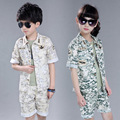 2016 New Spring Summer Cotton Fashion Print Flower Children Boy And Girl Colothes Casual Sets