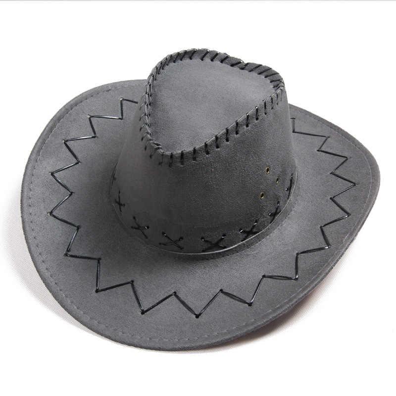 aa19674e2 Men Women Fashion Cowboy Hat Vintage Wide Brim Headwear Cap Western Cowboy  Hat Fashion Jazz Cap Spring & Summer Hat
