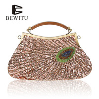 BEWITU High Quality Beaded Hand Bag Sequins Clutches Wedding Purse Silver Evening Bag Party Bag For