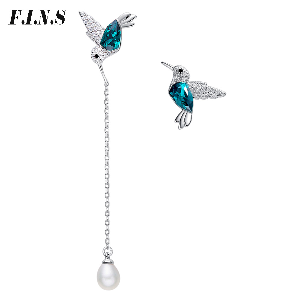 F.I.N.S Personalized Asymmetrical Earrings Silver 925 Green Crystal Bird Dangle Earrings for Women Vintage Fashion Jewelry vintage bird wings necklace for women