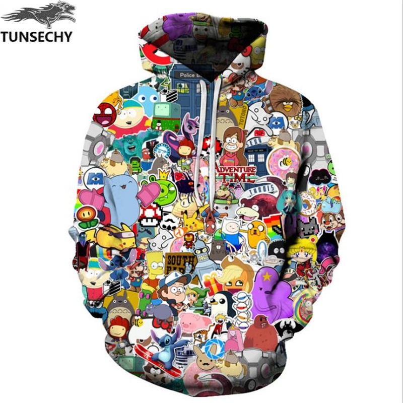 TUNSECHY Anime Hoodies Men/Women 3D Sweatshirts With Hat Hoody Unisex Anime Cartoon Hooded Fashion Brand Hoodies Sweatshirts