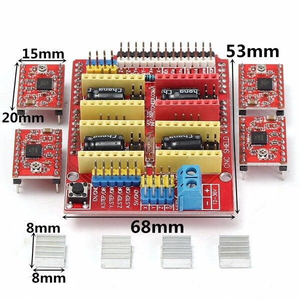 1 Set Nieuwe Graveur Cnc Shield Board + 4 Stuks A4988 Stappenmotor Driver 3d Printer Starter Kit Voor Arduino Graveur Geïntegreerde Speelgoed