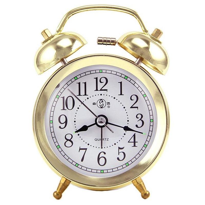 KTL 4 Inch Ultra-Stille Classic Alarm Clock Retro Double Bell Desk Table Alarm Clock Gold/Silver Color Drop Shipping