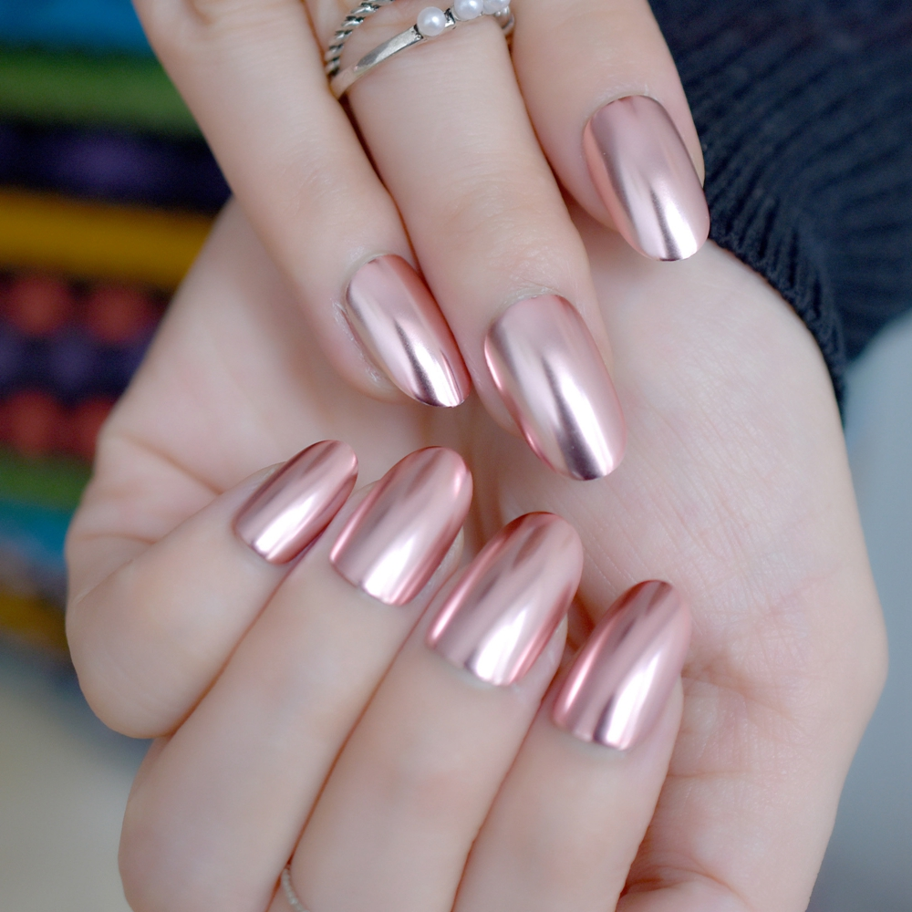 Best Seller Oval Metal Mirror False Nails Champagne Pink Fake Nail ...