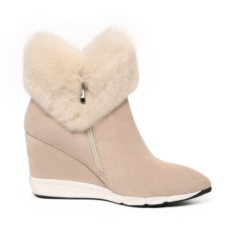 34e328b8d Winter New Real Leather Cow Suede Womens Snow Boots Sweet Fur Trim Girls  Ankle Boots High Heel Pointed Toe Wedges Female Shoes