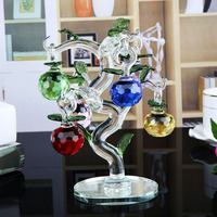 Glass Crystal Apple Tree With 6pcs Apples Fengshui Crafts Home Decor Figurines Christmas New Year Gifts