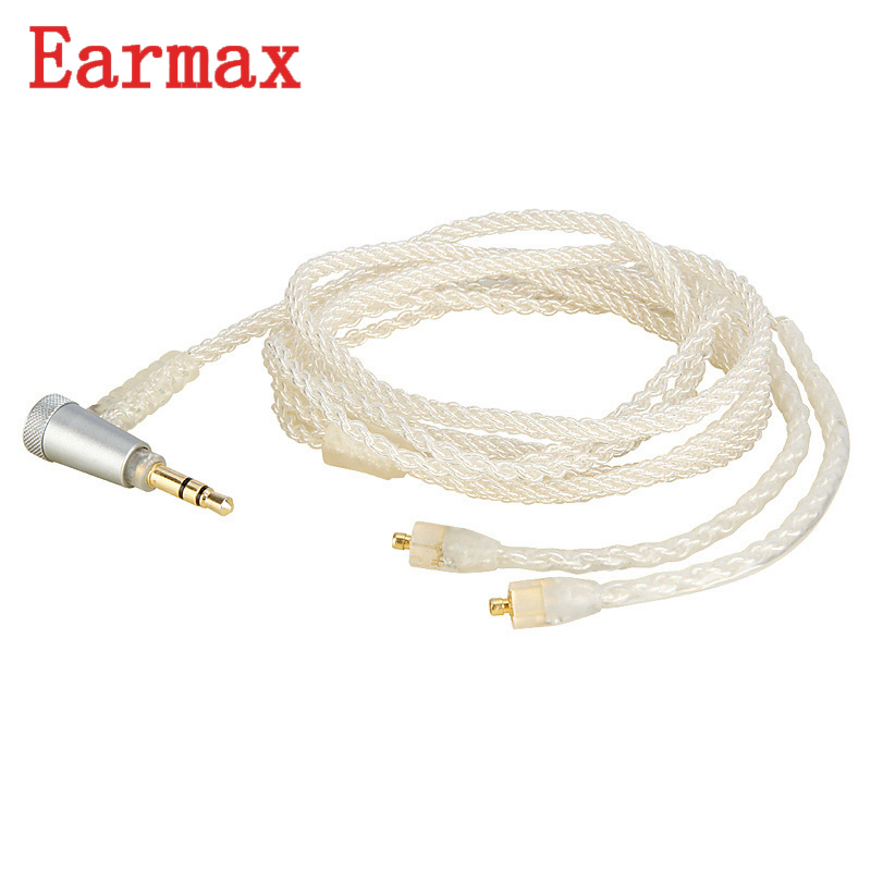 Earmax MMCX Earphone Upgrade Cable 3.5mm Jack Aux Audio Cable Silver Plating Weave Wire For Shure/JVC/UE For Westone