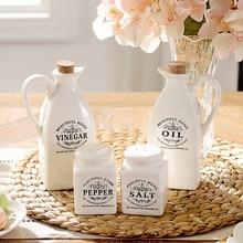 Купить с кэшбэком Zakka Grocery White Japanese Style Ceramic Bottle Seasoning Bottle Kitchen Supplies 4 Pcs/Set