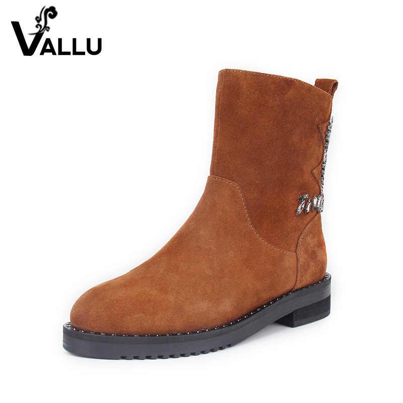 Kış çizmeler kadın ayakkabıları 2018 Yeni Varış Çocuk Süet Orta Buzağı Çizmeler Bayanlar El Yapımı Düşük Topuk Kristal kadın Ayakkabı