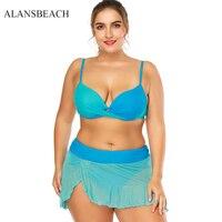 ALANSBEACH Blue Color Lace Bikinis Set High Waist Swimwear Swimming Fat Suit Bathing Suit Padded Beachwear