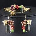 Luxo noble flor esmalte esmalte brincos jóia e pulseira pulseiras rainha jóias finas