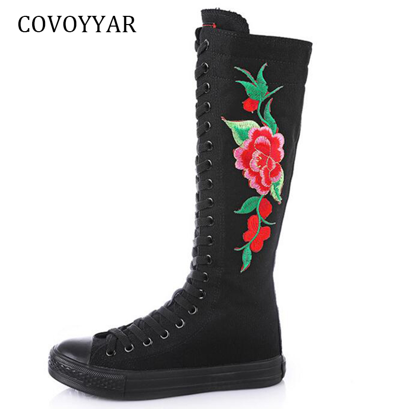 COVOYYAR New 2018 Knee High Boots Women Canvas Shoes Fashion Embroidered Platform Women Boots Slim Lace Up Dance Shoes WBS923 embroidered women high boots fashion designer shoes women luxury 2017 stiletto embroidered women high boots page 8