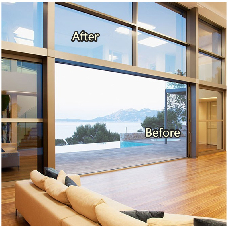Fancy fix one way window film silver metal mirrorheat control privacy solar window film for building home officestatic cling in decorative films from home