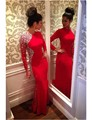 robe soiree Sexy High Neck Long Sleeve Gowns Beaded Rhinestones Dresses Evening Gown vestido de festa