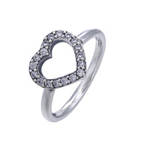 Authentic 925 Sterling Silver Ring Be My Valentine Love Heart With Crystal Rings For Women Wedding