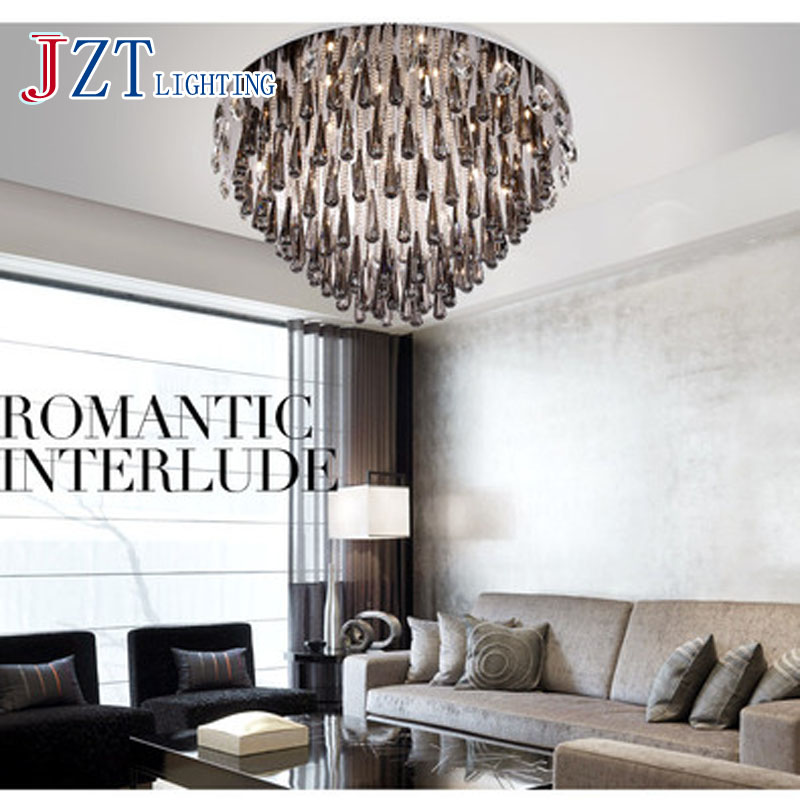 T Black Crystal Ceiling Lighting With LED Bulbs Fashion Creative Modern Circular Lamps For Home Living Room Simple DHL Free circular ceiling wooden lighting lamps