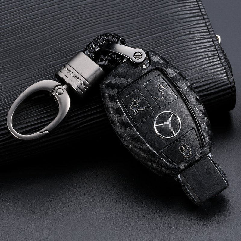 Car Key Case Cover Carbon Fiber For Mercedes Benz BGA AMG W203 W210 W211 W124 W202 W204 W205 W212 W176 Car Key Shell Protecor