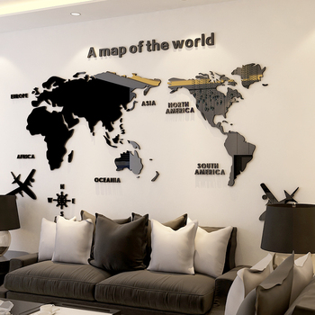3D Wall Sticker Acrylic Decorations Living Room Bedroom World Map Stickers Home Decor 5 Sizes One Piece Wallpaper Hot Sale