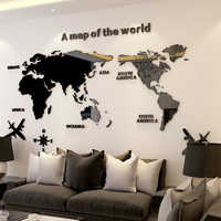 3D Wall Sticker Acrylic Wall Decorations Living Room Bedroom World Map Stickers Home Decor 5 Sizes One Piece Wallpaper Hot Sale