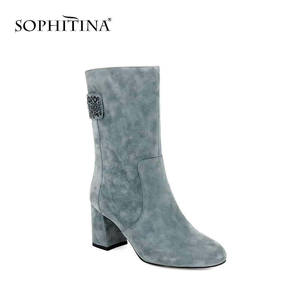 SOPHITINA 2019 Hot Sell Mid Calf Boots Women Winter Warm Short Plush Shoes Elegant Pointed Toe