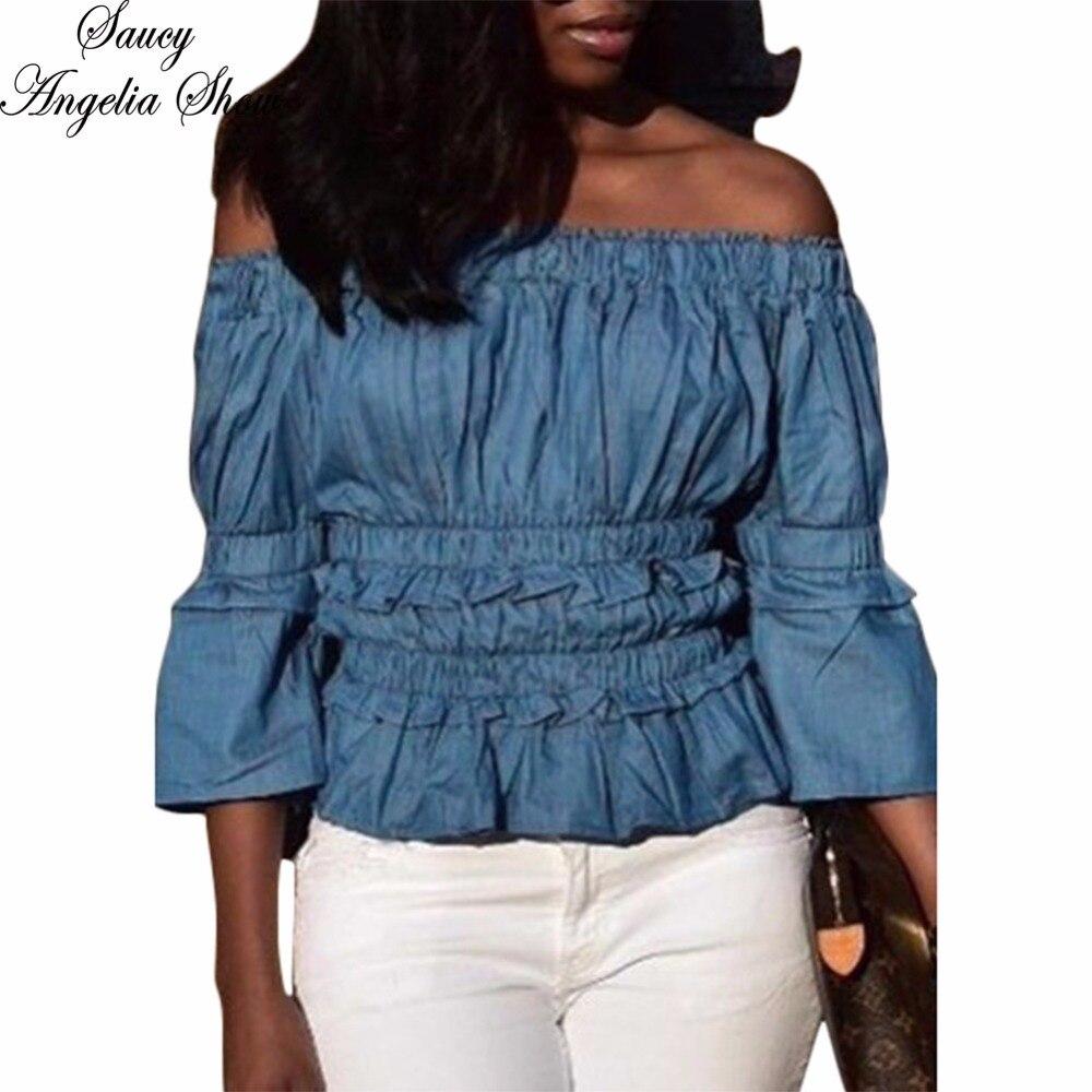 SAUCY ANGELIA Women T Shirt Sexy Pleated Denim Spring Summer Tops Crops Shirt Crop Top Hollow Out Femme Jean Casual Tees XXL
