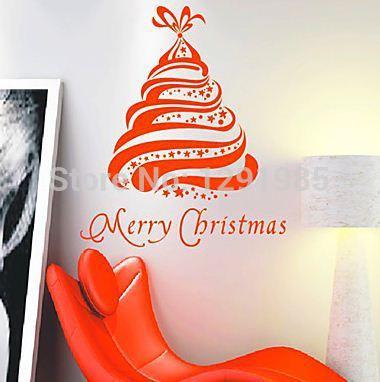 New Merry Christmas Tree Wall Sticker Shop Room Christmas Decoration Diy Creative Design Home Decor PVC Removable Stickers