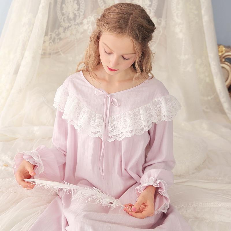 Пижамы женское платье хлопковая Ночная рубашка Длинные рубашки Ретро Королевский дамы повседневное домашнее платье фиолетовый розовый уд...