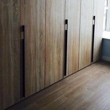Matte Black Drawer cupboard aluminum alloy door handle wardrobe door Flattened handle plus size Lengthened simpleand